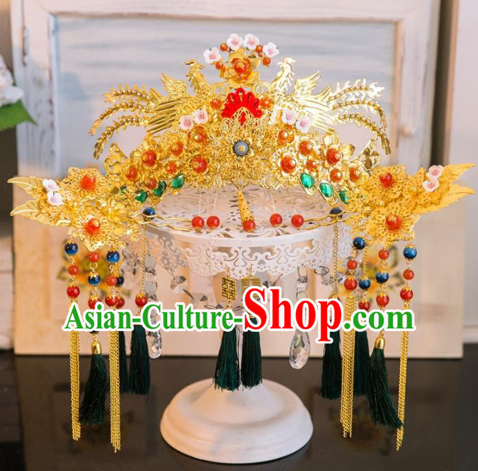 Aisan Chinese Handmade Classical Hair Accessories Hanfu Green Tassel Phoenix Coronet, China Xiuhe Suit Hairpins Wedding Headwear for Women