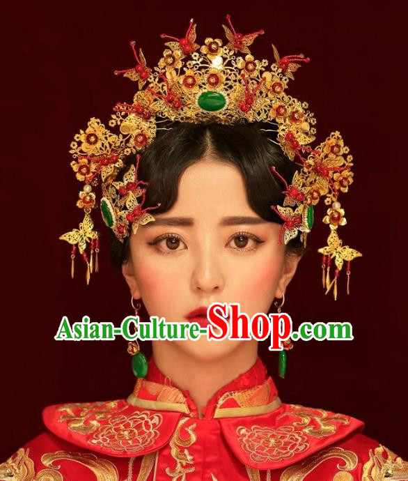 Aisan Chinese Handmade Classical Hair Accessories Hanfu Green Jade Phoenix Coronet, China Xiuhe Suit Hairpins Wedding Headwear Complete Set for Women