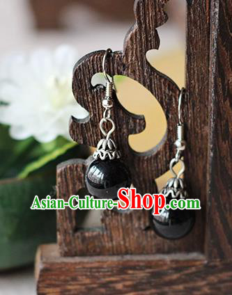 Chinese Handmade Classical Accessories Hanfu Black Bead Tassel Earrings, China Xiuhe Suit Wedding Eardrop for Women