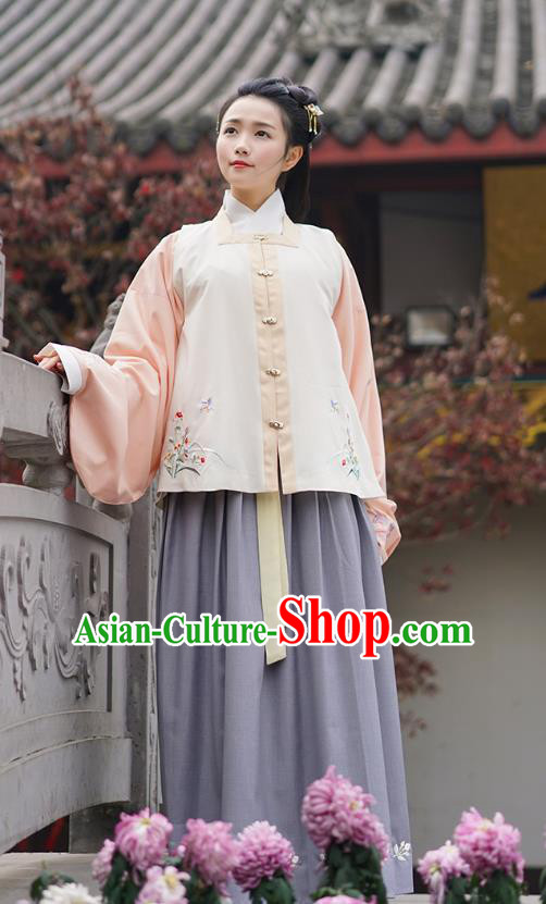 Traditional Asian Chinese Hanfu Princess Costumes, China Ming Dynasty Young Lady Embroidered Vest Blouse and Skirts Complete Set