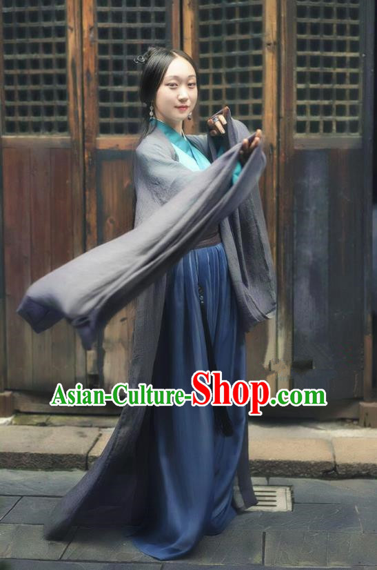 Traditional Ancient Chinese Jin Dynasty Swordswoman Costume, China Elegant Hanfu Princess Embroidery Clothing Complete Set