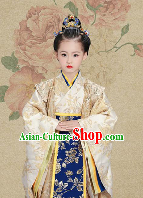 Traditional Chinese Han Dynasty Imperial Princess Tailing Embroidered Clothing and Headpiece for Kids