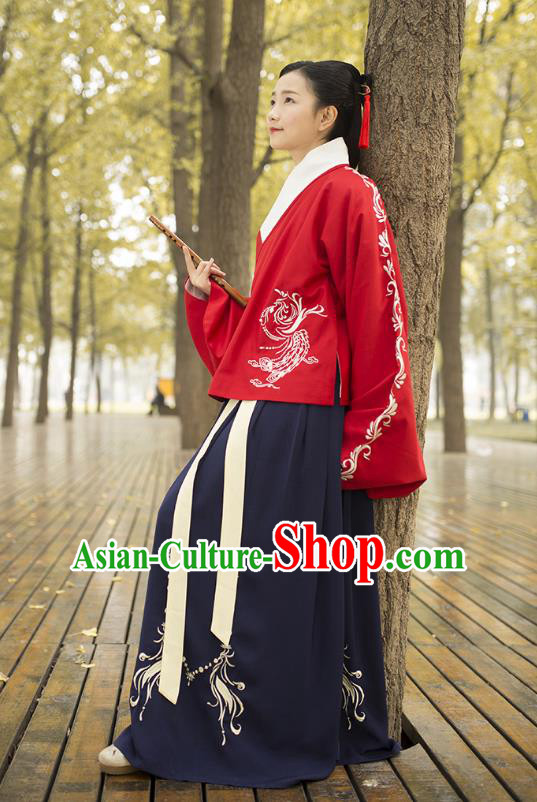 Traditional Chinese Ancient Costumes, Asian China Ming Dynasty Palace Lady Princess Clothing Embroidery Blouse and Skirt Complete Set