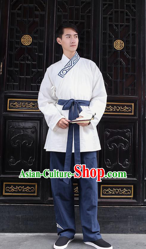 Traditional Chinese Ancient Hanfu Costumes, Asian China Han Dynasty Embroidery White Blouse and Pants for Men