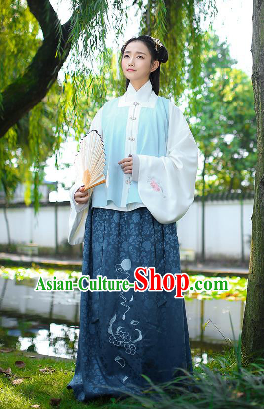 Traditional Chinese Ancient Royal Princess Hanfu Costume, Asian China Ming Dynasty Palace Lady Embroidered Blue Vest Blouse and Skirts for Women