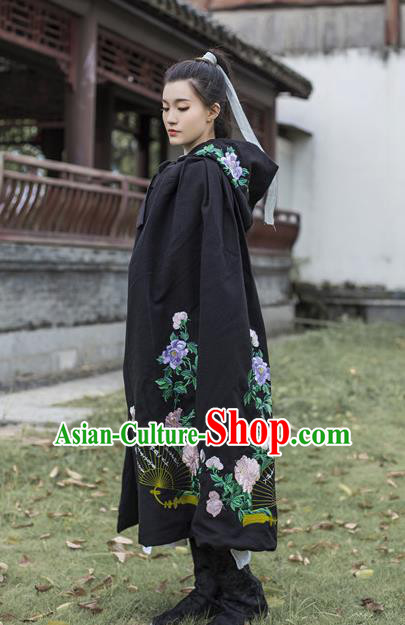 Traditional Chinese Ancient Young Lady Costume Black Cloak, Asian China Ming Dynasty Swordswoman Embroidered Mantle for Women