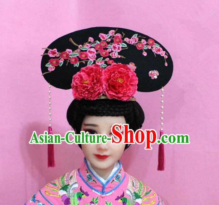 Traditional Handmade Chinese Hair Accessories Qing Dynasty Palace Lady Red Plum Blossom Headwear, Manchu Imperial Concubine Hairpins for Women