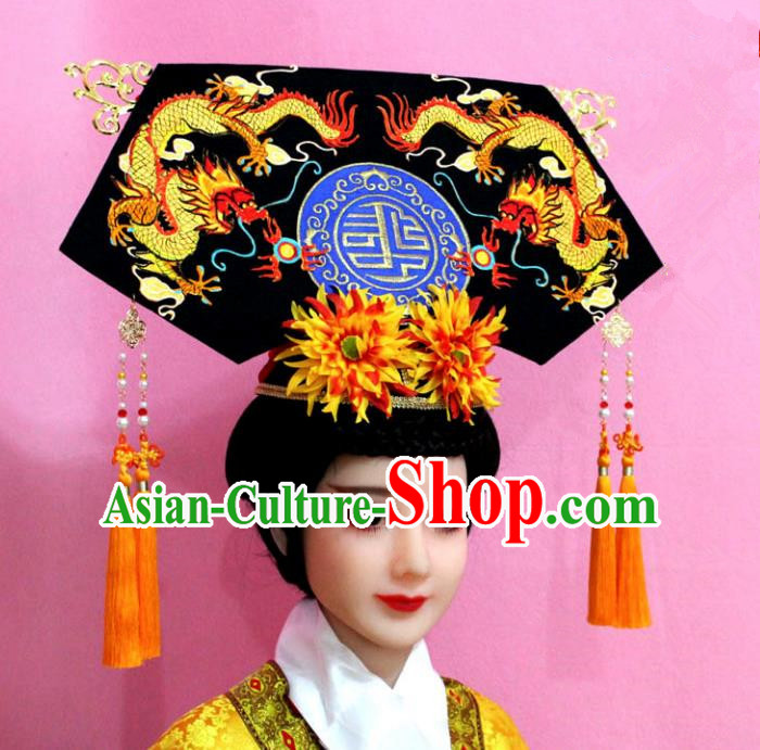 Traditional Handmade Chinese Hair Accessories Qing Dynasty Palace Lady Banners Dragons Headwear, Manchu Imperial Concubine Hairpins for Women