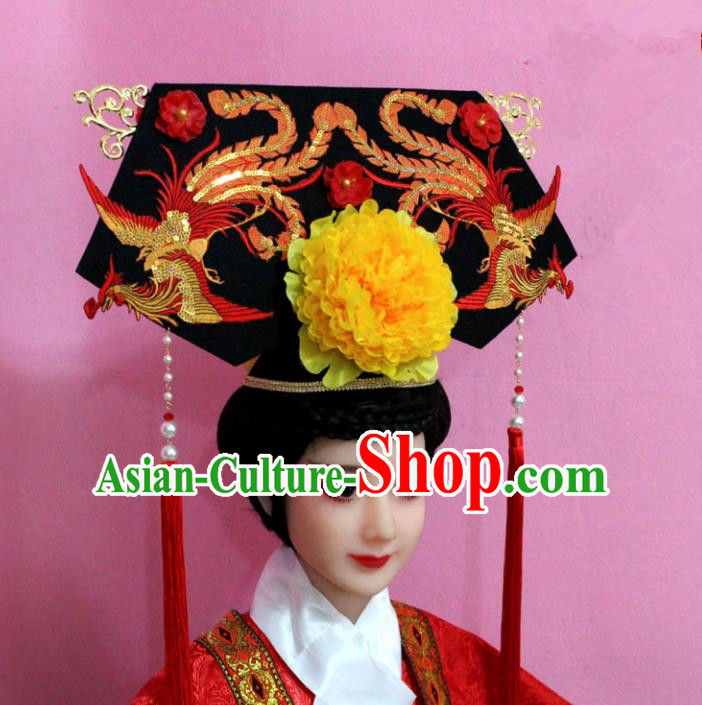 Traditional Handmade Chinese Hair Accessories Qing Dynasty Palace Lady Banners Phoenix Headwear, Manchu Imperial Concubine Hairpins for Women