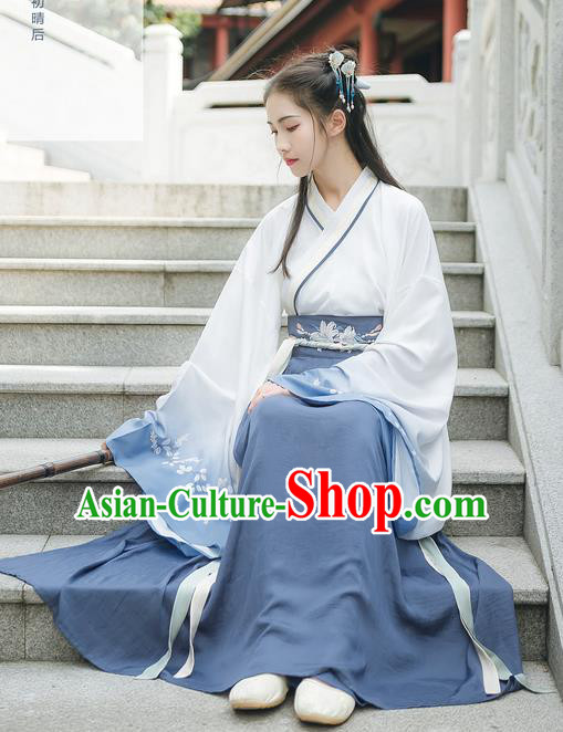 Asian China Han Dynasty Hanfu Princess Embroidery Wide Sleeve Dress Clothing Complete Set