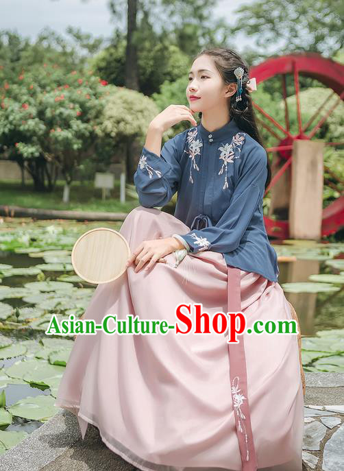 Asian Chinese Ancient Hanfu Palace Lady Costume, Traditional China Ming Dynasty Princess Embroidery Dress Clothing Complete Set