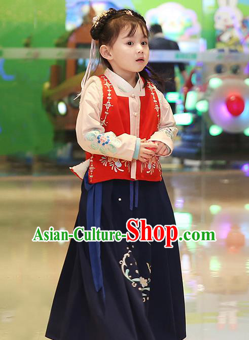 Traditional Chinese Ancient Hanfu Princess Costume Embroidered Vest Blouse and Skirt, Asian China Ming Dynasty Palace Lady Clothing for Women