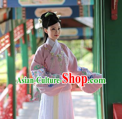 Asian Chinese Ming Dynasty Hanfu Embroidered Pink Blouse Costume, Traditional China Ancient Princess Clothing for Women