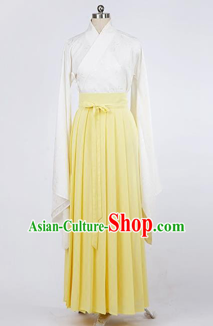 Asian Chinese Ming Dynasty Young Lady Costume, Ancient China Princess Silk Yellow Skirt Clothing for Women