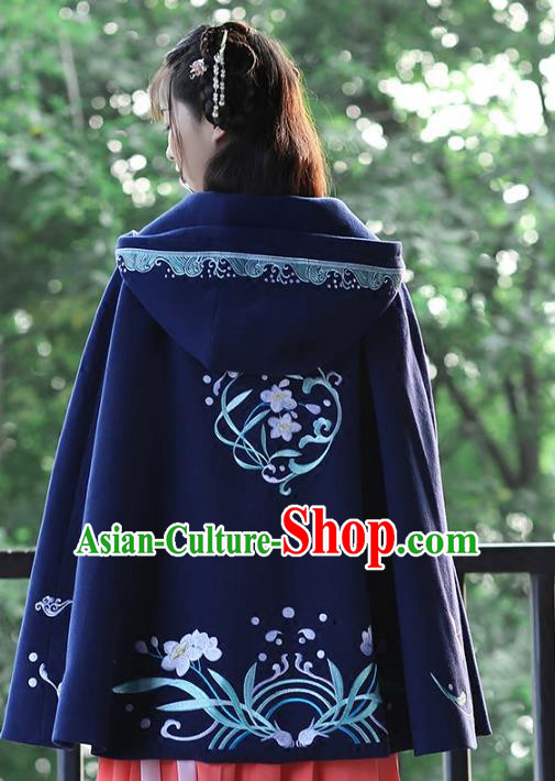 Asian Chinese Ming Dynasty Young Lady Navy Embroidered Cloak, Ancient China Princess Hanfu Short Mantle Clothing for Women