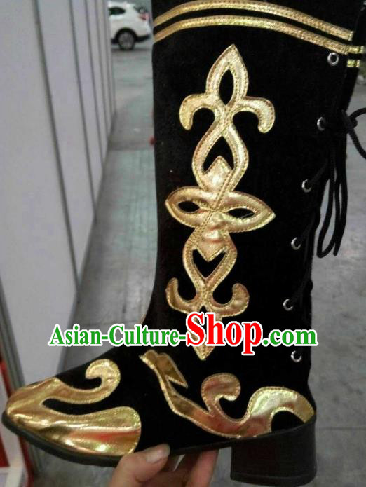 Traditional Chinese Minority Mongol Nationality Ethnic Mongolian Black Boots Mongolian Jockey Boots Tanks Boots
