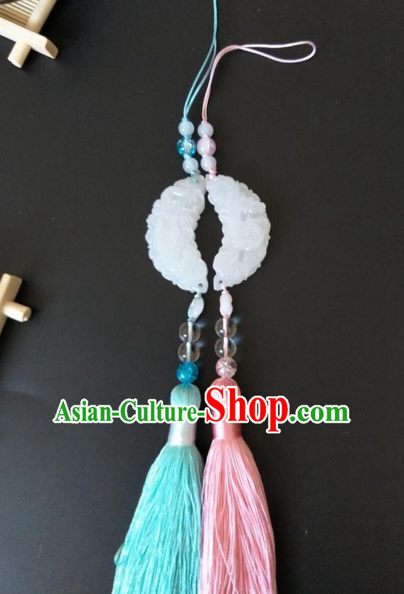 Traditional Handmade Chinese Hanfu Accessories Jade Pendant, China Palace Lady Tassel Waist Pendant for Women