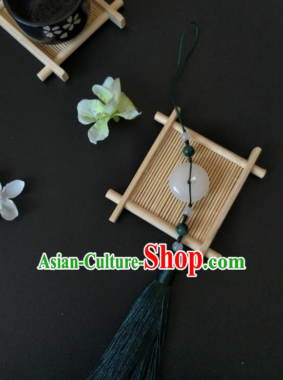 Traditional Handmade Chinese Hanfu Accessories Jade Pendant, China Palace Lady Green Tassel Waist Pendant for Women