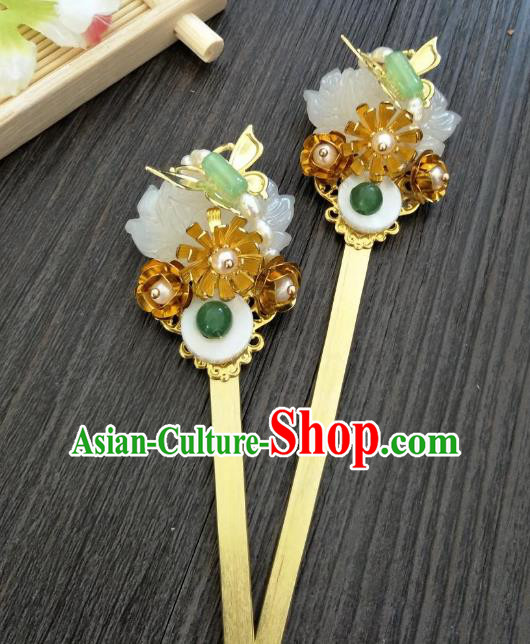 Traditional Handmade Chinese Hair Accessories Hanfu Copper Hairpins, China Palace Lady Jade Hair Stick Step Shake for Women
