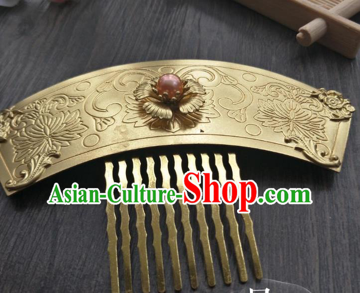 Traditional Handmade Chinese Hair Accessories Hanfu Copper Hairpins, China Palace Lady Jade Hair Comb for Women