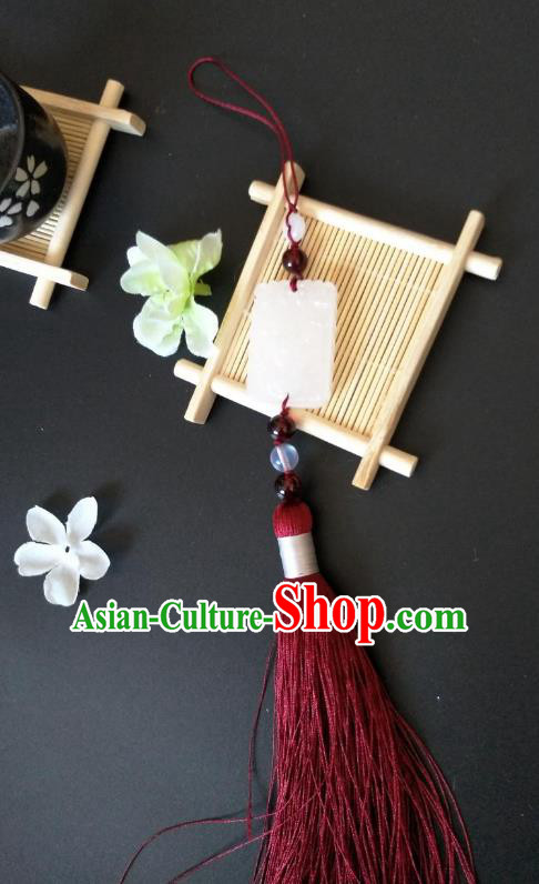 Traditional Handmade Chinese Hanfu Accessories Red Tassel Jade Pendant, China Palace Lady Waist Pendant for Women