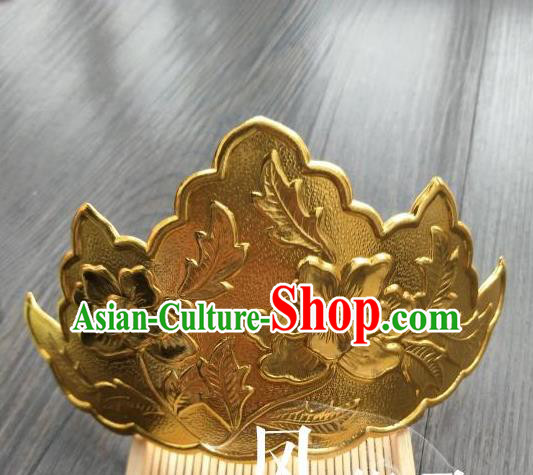 Traditional Handmade Chinese Hair Accessories Hanfu Copper Hairpins, China Ancient Tang Dynasty Palace Lady Lotus Hair Comb for Women