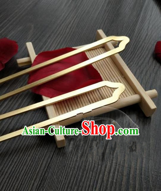 Traditional Handmade Chinese Hair Accessories Copper Hairpins, China Ancient Tang Dynasty Palace Lady Hanfu Hair Stick for Women