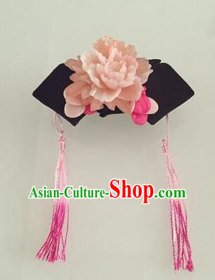 Traditional Handmade Chinese Qing Dynasty Hair Accessories Empress Tassel Headwear, Manchu Imperial Concubine Headpiece