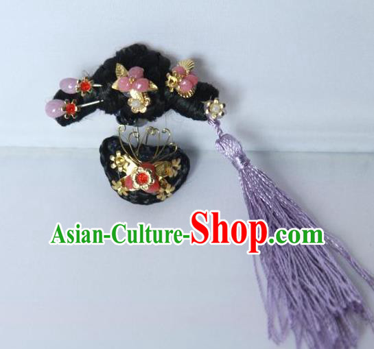 Traditional Handmade Chinese Qing Dynasty Hair Accessories Tassel Headwear, Manchu High Coiffure Imperial Concubine Headpiece Hairpins