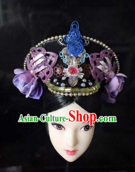 Traditional Handmade Chinese Qing Dynasty Hair Accessories Headwear, Manchu High Coiffure Imperial Concubine Hat Headpiece