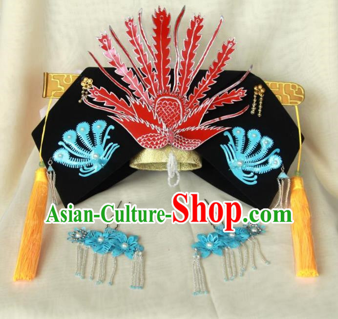 Traditional Handmade Chinese Qing Dynasty Hair Accessories Queen Headwear, China Manchu Imperial Concubine Phoenix Hairpins Headpiece