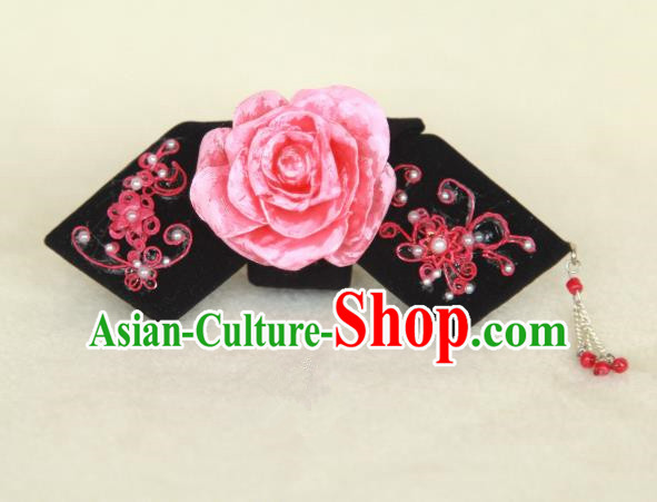 Traditional Handmade Chinese Qing Dynasty Hair Accessories Tassel Peony Headwear, Manchu High Coiffure Imperial Concubine Headpiece