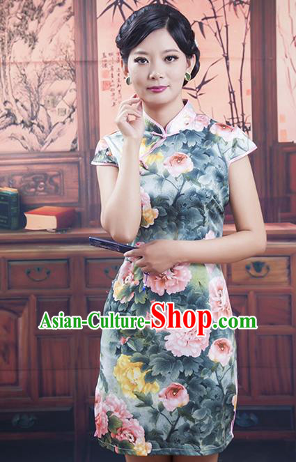 Traditional Ancient Chinese Republic of China Cheongsam Costume, Asian Chinese Printing Peony Silk Chirpaur Dress Clothing for Women