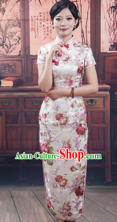 Traditional Ancient Chinese Republic of China Long Cheongsam Costume, Asian Chinese Printing Silk Chirpaur Dress Clothing for Women