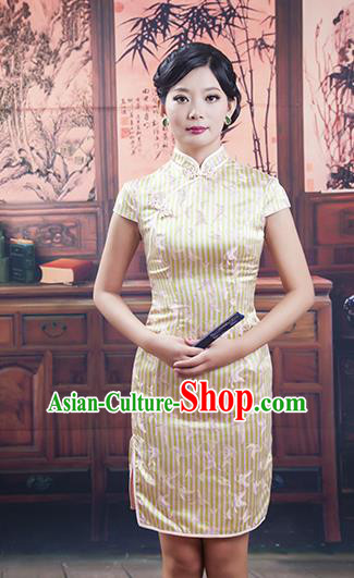 Traditional Ancient Chinese Republic of China Short Golden Cheongsam Costume, Asian Chinese Printing Silk Chirpaur Dress Clothing for Women