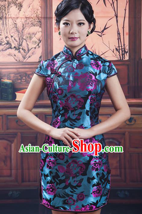 Traditional Ancient Chinese Republic of China Short Cheongsam Costume, Asian Chinese Printing Silk Chirpaur Dress Clothing for Women