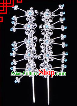 Traditional Beijing Opera Diva Hair Accessories Blue Crystal Plum Blossom Head Ornaments Hairpins, Ancient Chinese Peking Opera Hua Tan Hair Stick Headwear