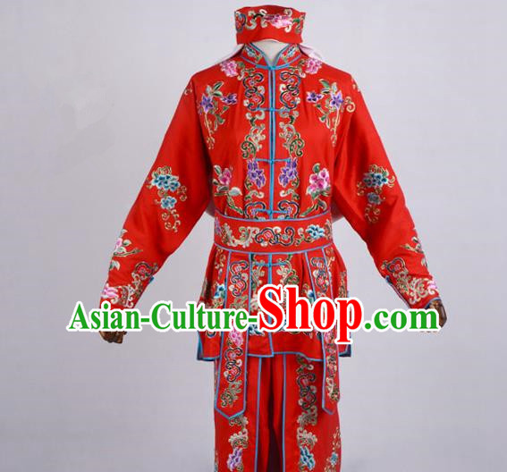 Traditional China Beijing Opera Swordplay Costume, Ancient Chinese Peking Opera Blues Warrior Embroidery Red Clothing