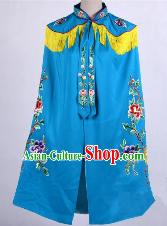 Top Grade Professional Beijing Opera Female General Costume Swordplay Blue Embroidered Cloak, Traditional Ancient Chinese Peking Opera Mu Guiying Embroidery Mantle Clothing