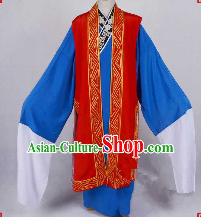 Top Grade Professional Beijing Opera Niche Costume Gifted Scholar Red Embroidered Long Vest, Traditional Ancient Chinese Peking Opera Embroidery Waistcoat
