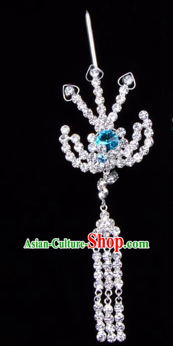 Traditional Beijing Opera Diva Hair Accessories Blue Crystal Hairpins Phoenix Step Shake, Ancient Chinese Peking Opera Hua Tan Hair Stick Headwear