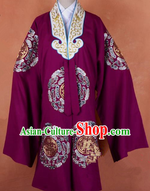 Top Grade Professional Beijing Opera Old Women Costume Pantaloon Purple Embroidered Robe, Traditional Ancient Chinese Peking Opera Landlord Shiva Embroidery Clothing