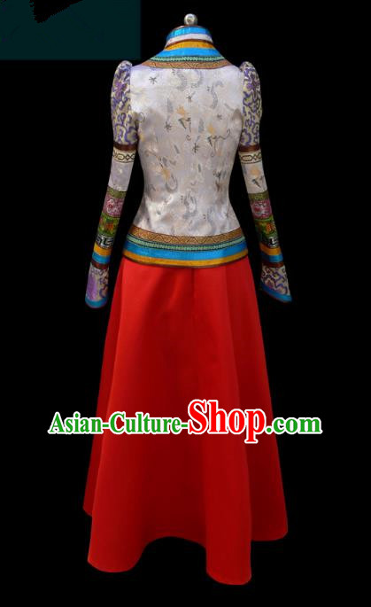 Traditional Chinese Mongol Nationality Dance Costume, Mongols Female Folk Dance Ethnic Wedding Pleated Skirt, Chinese Mongolian Minority Nationality Embroidery Costume for Women