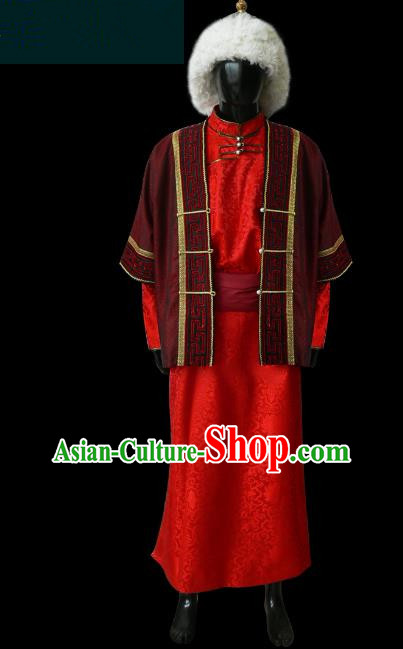 Traditional Chinese Mongol Nationality Dance Costume Bridegroom Mongolian Robe, Chinese Mongolian Minority Nationality Royal Highness Embroidery Costume for Men