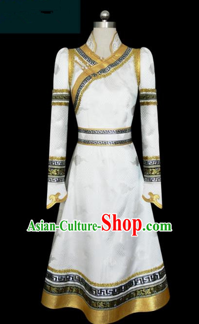 Traditional Chinese Mongol Nationality Dance Costume White Mongolian Robe, Chinese Mongolian Minority Nationality Clothing for Women
