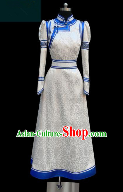 Traditional Chinese Mongol Nationality Costume, Chinese Mongolian Minority Nationality Princess White Mongolian Robe for Women