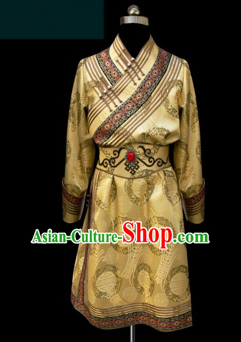 Traditional Chinese Mongol Nationality Costume Golden Mongolian Robe, Chinese Mongolian Minority Nationality Clothing for Men