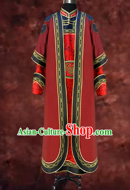 Traditional Chinese Mongol Nationality Dance Costume Wedding Red Mongolian Robe, Chinese Mongolian Minority Nationality Royal Highness Embroidery Costume for Men