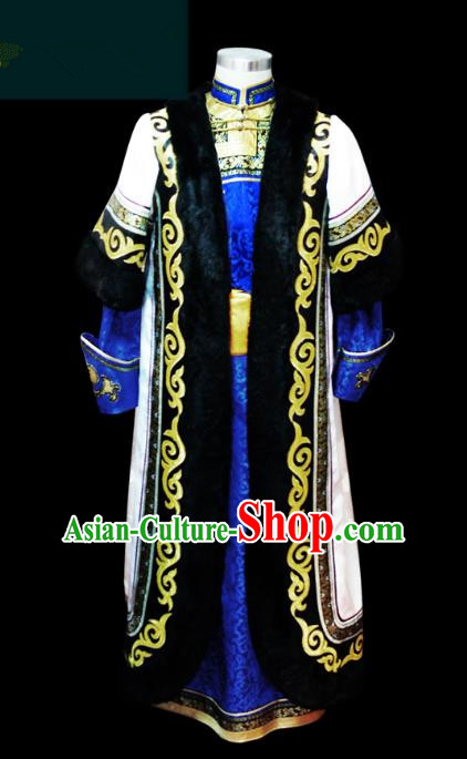 Traditional Chinese Mongol Nationality Dance Costume King Blue Mongolian Robe, Chinese Mongolian Minority Nationality Bridegroom Embroidery Costume for Men