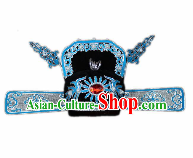 Traditional China Beijing Opera Bridegroom Scholar Pearl Hats, Chinese Peking Opera County Magistrate Headwear